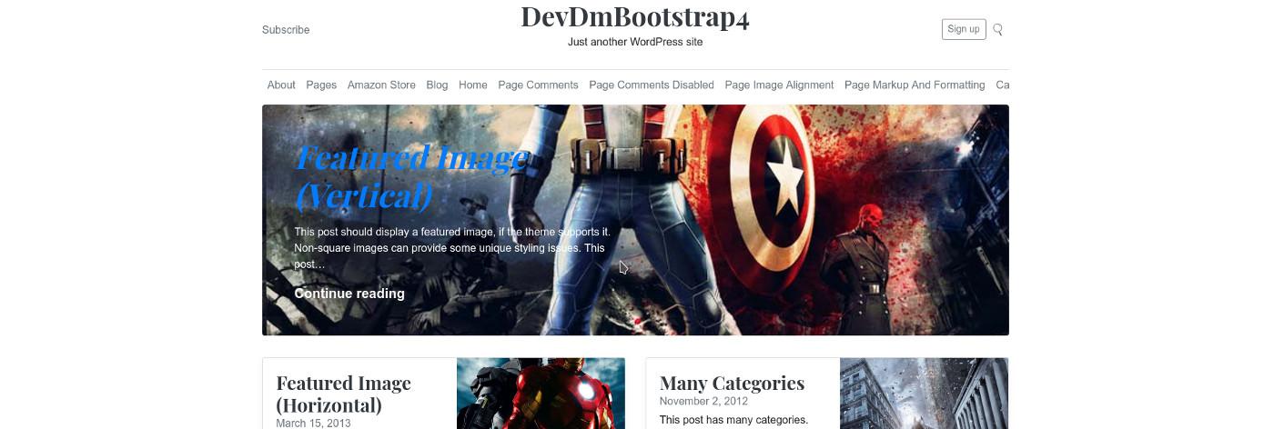 DevDmBootstrap4 - Twitter Bootstrap 4 WordPress Starter Theme for ...